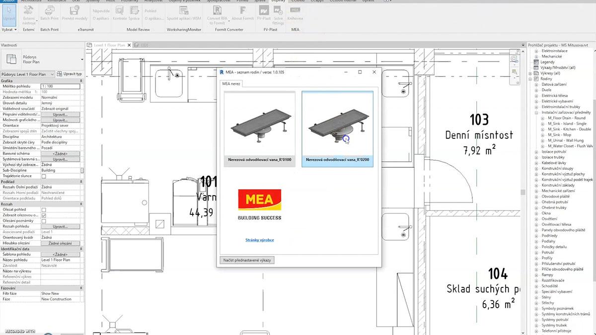 MEA projektování v BIM nerez 2