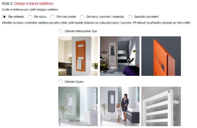 V 3. kroku konfigurátora si zvolíte dizajn zo 17 najpredávanejších kúpeľňových radiátorov Zehnder. Aby ste si mohli dobre vybrať, môžete si pri každom radiátore pozrieť tri charakteristické obrázky.