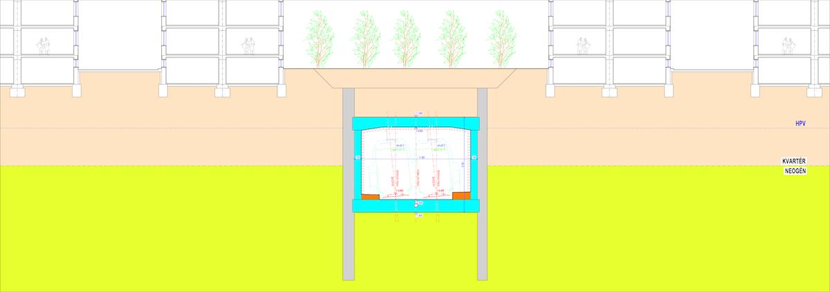 Obr. 4 Vzorový priečny rez hĺbeným tunelom