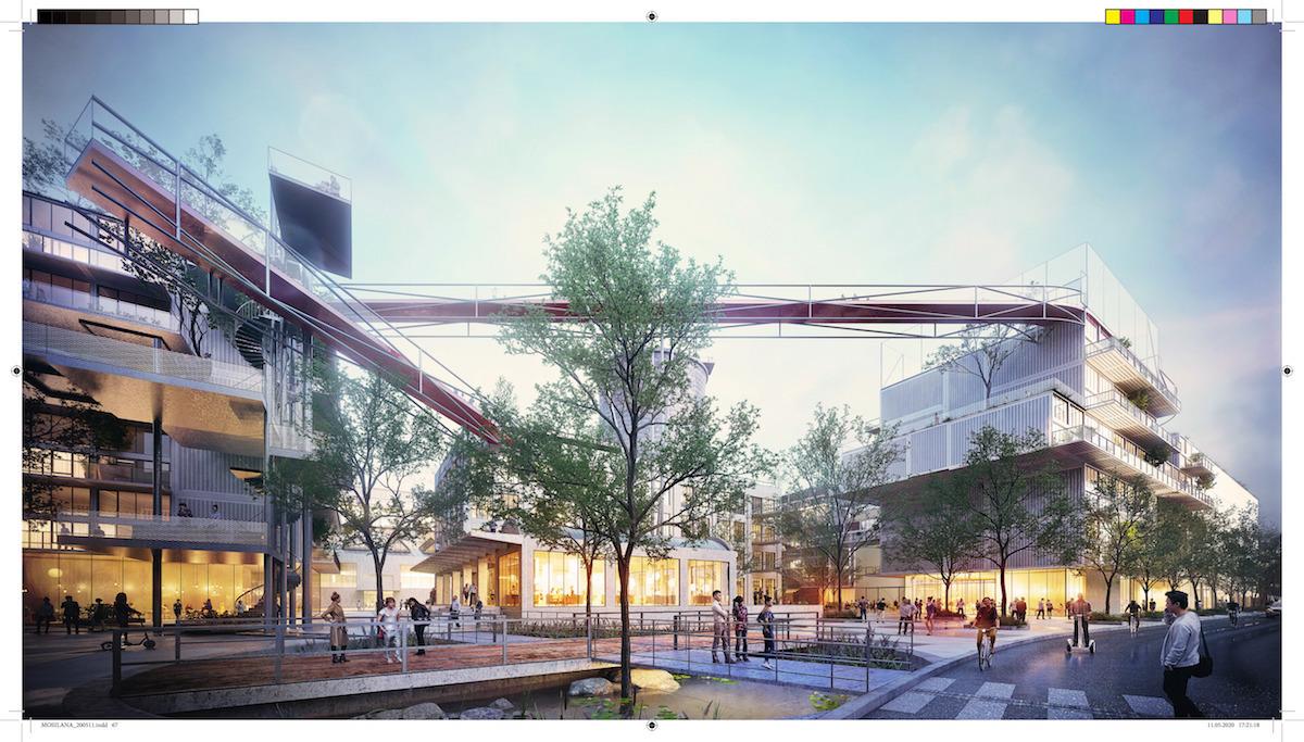 """Vrcholy budov prepája """"skywalk"""". Zámerom projektu je pomocou inovatívnych riešení vytvoriť sebestačnú udržateľnú lokalitu so silnou atmosférou."""