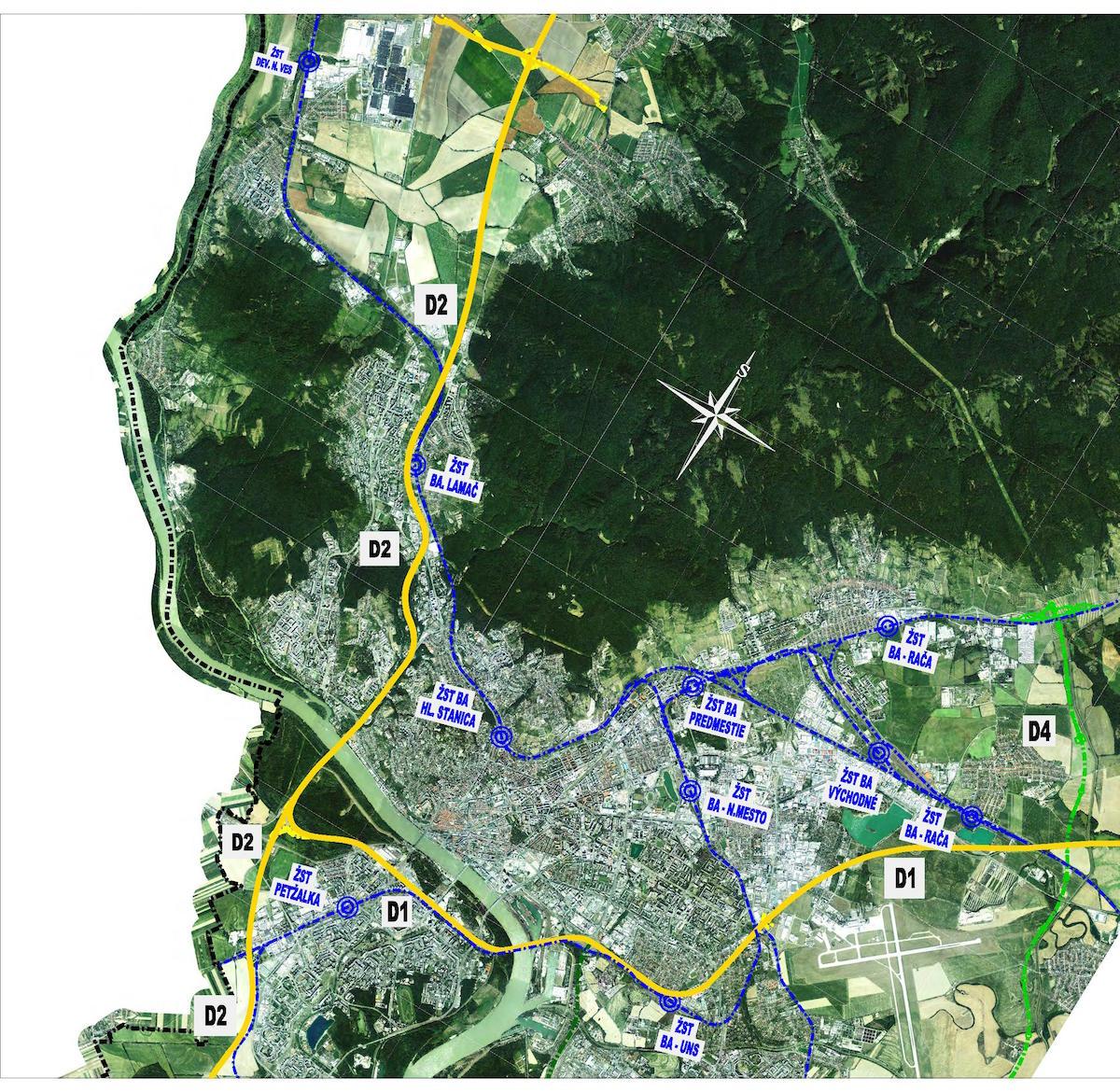 Jestvujúca železničná sieť na území Bratislavy (08/2020)