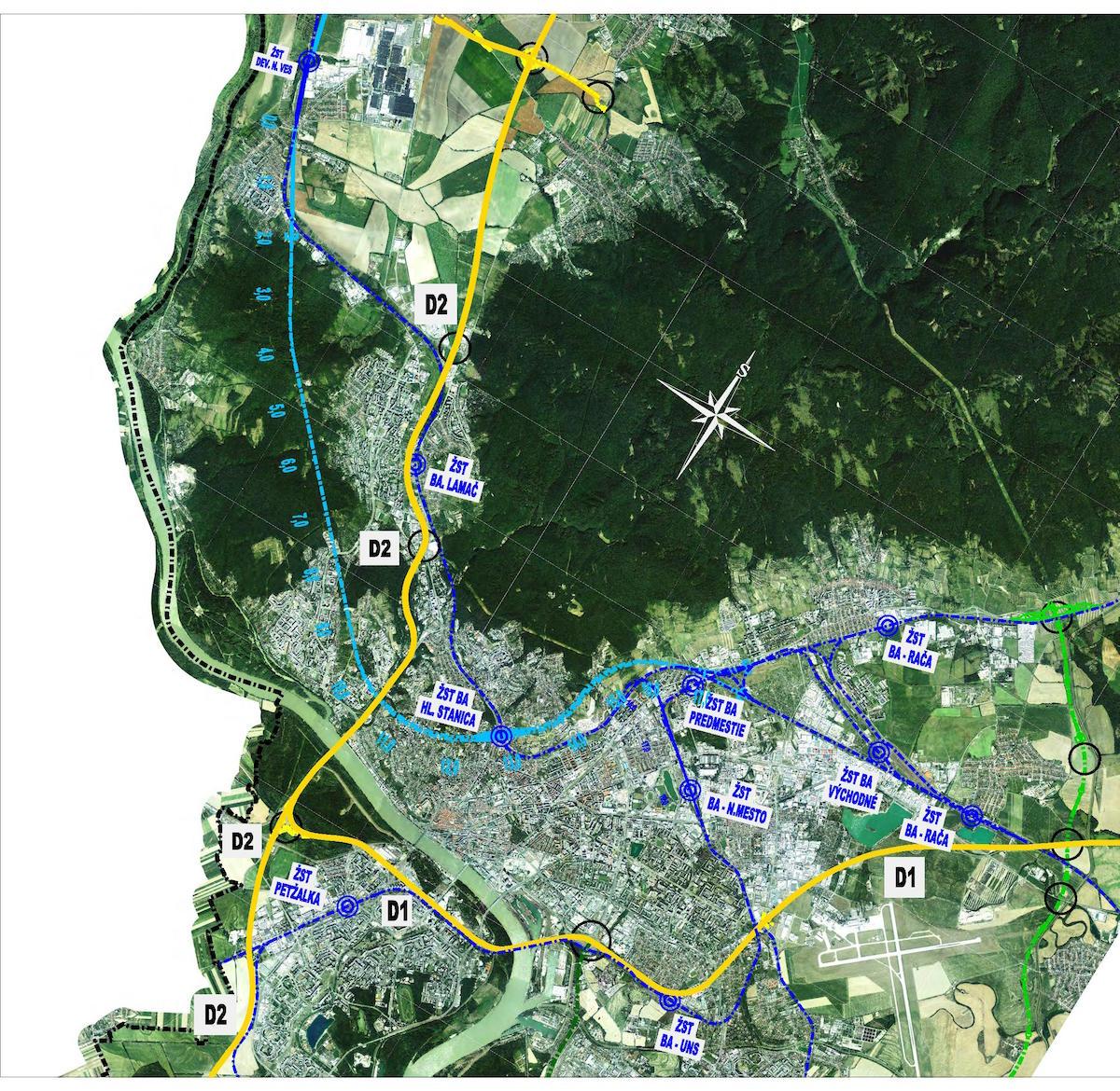 Navrhované železničné koridory pod územím Bratislavy (bledomodrá farba)