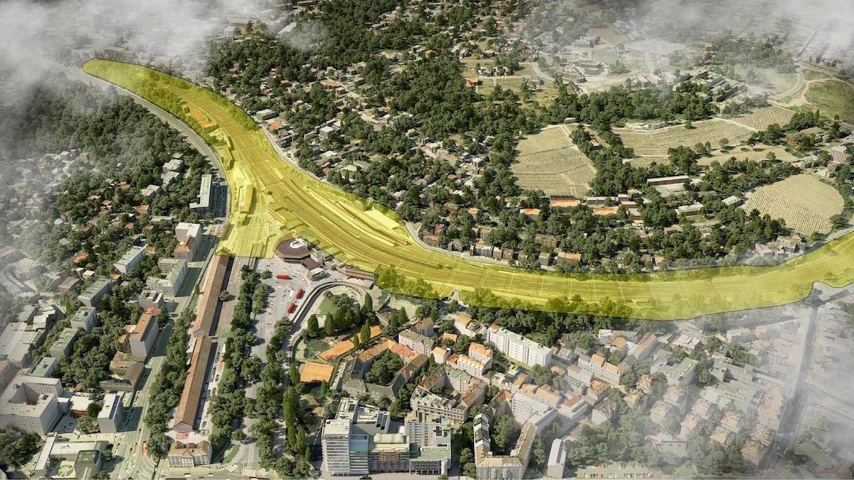Situácia ŽST Bratislava, hlavná stanica, so znázornením získaného územia (žltá farba), ktoré je možné využiť na vybudovanie novej urbanizovanej zóny. (TAROSI/Dimatz)