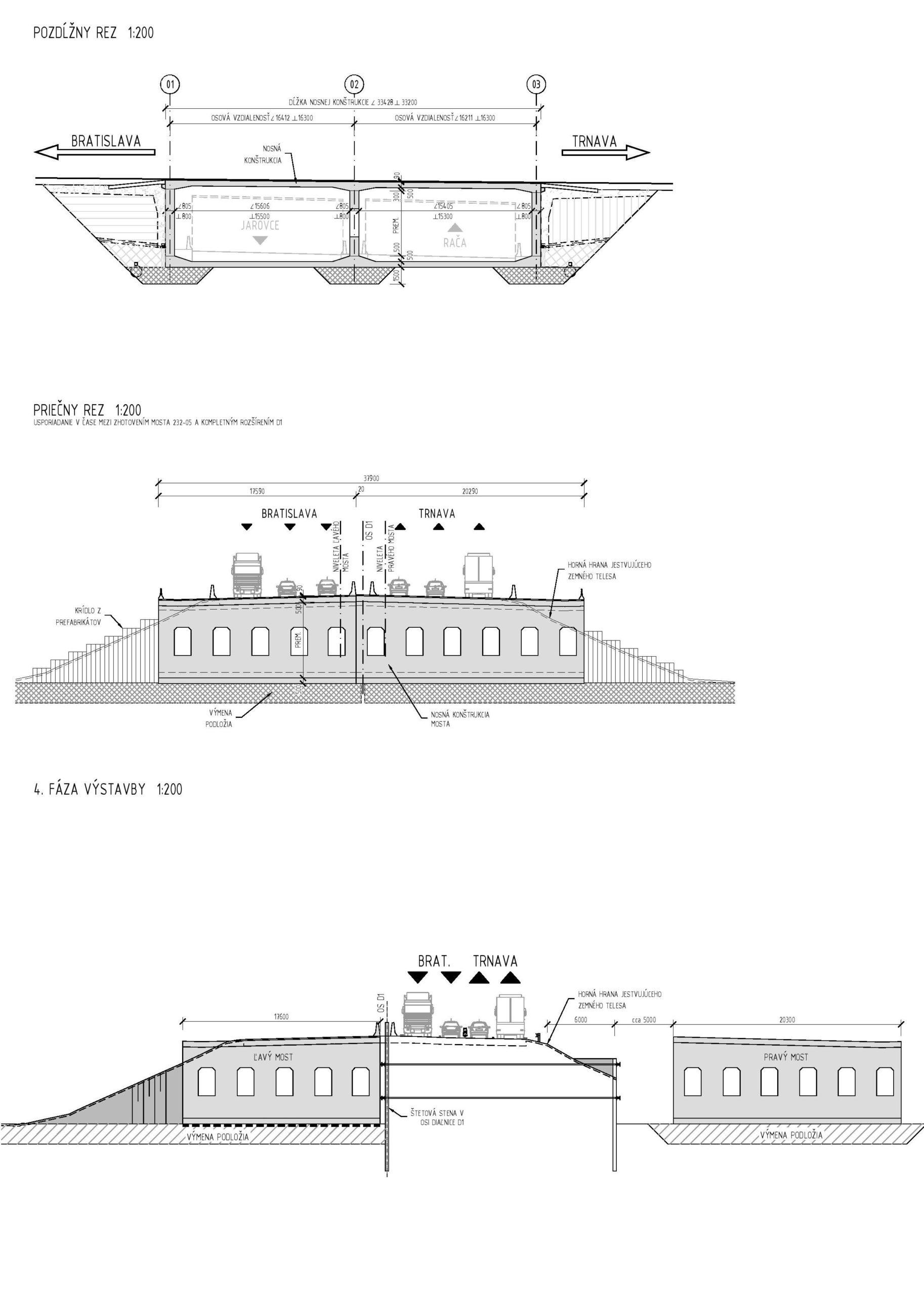 Pozdĺžny rez (v strede), priečny rez (hore), jedna z projektovaných fáz výstavby (dole).