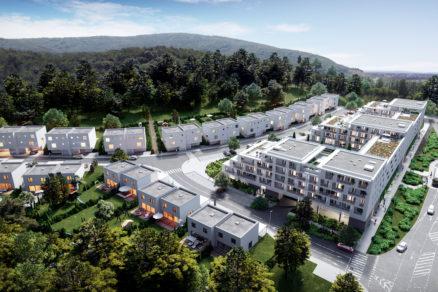 Pohľad z vtáčej perspektívy na bytový komplex Agáty.