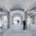 Vstupná chodba je nahradená stredovou pasážou, ktorá vytvára verejný priestor a sprístupňuje dvor.