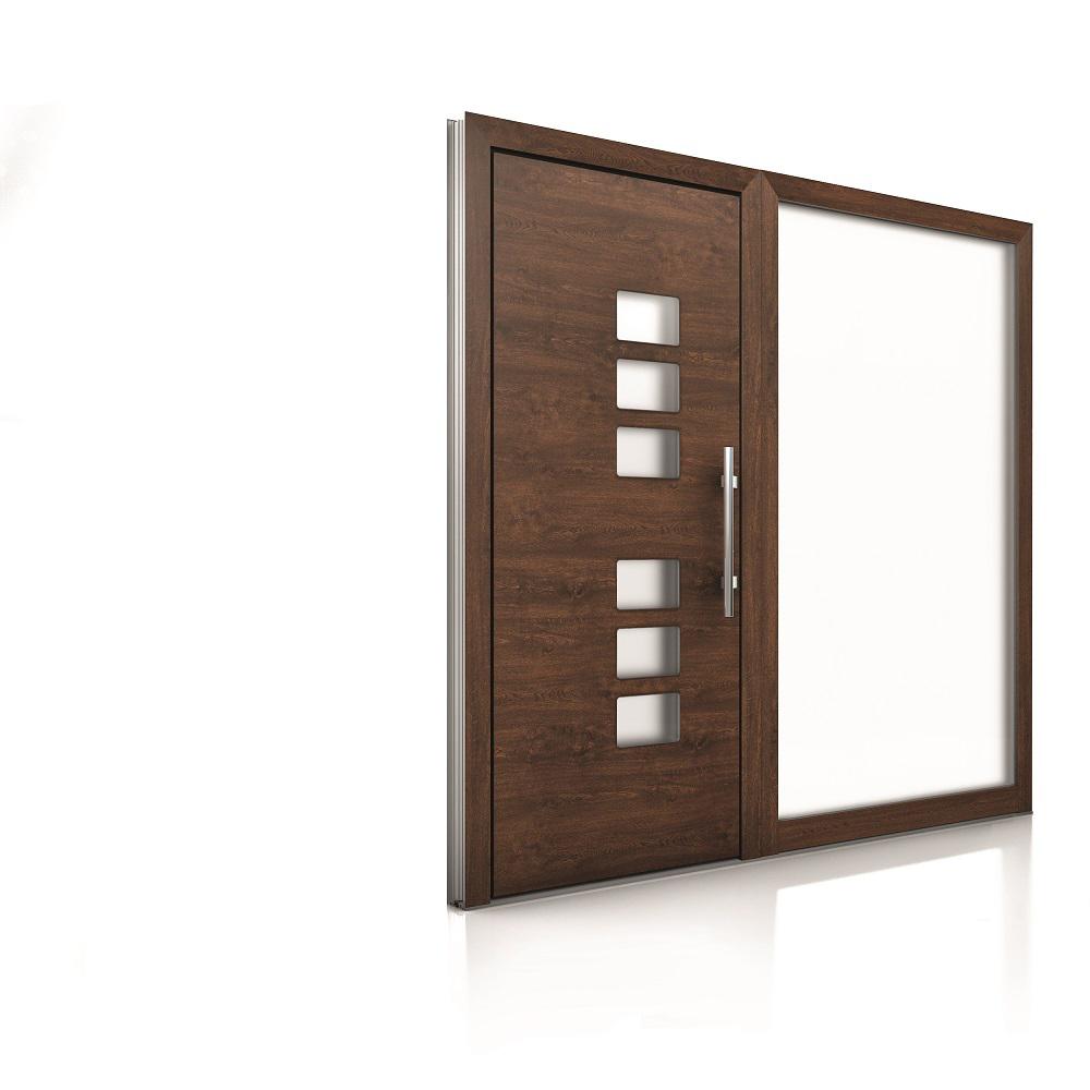 Internorm hliníkové vchodové dvere AT410 imitácia dreva 1000x1000 1