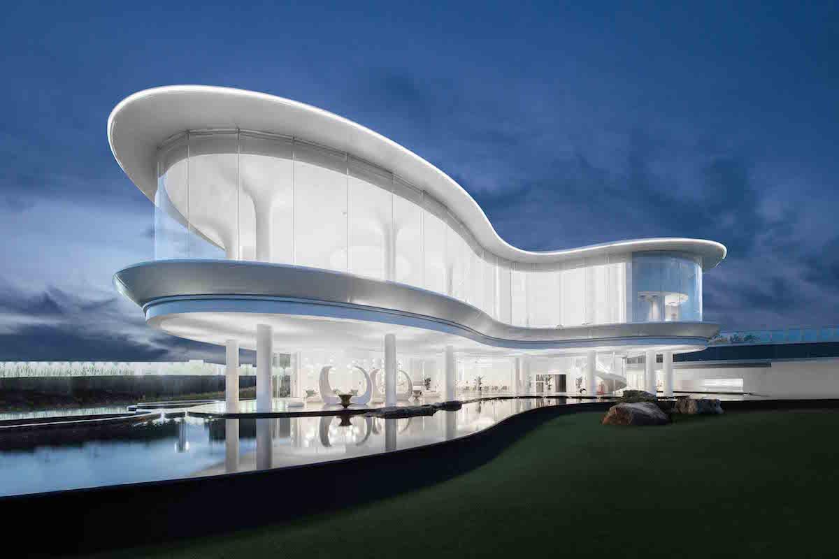 Budova vďaka bielej farbe apriehľadnosti pôsobí elegantne aupokojujúco.