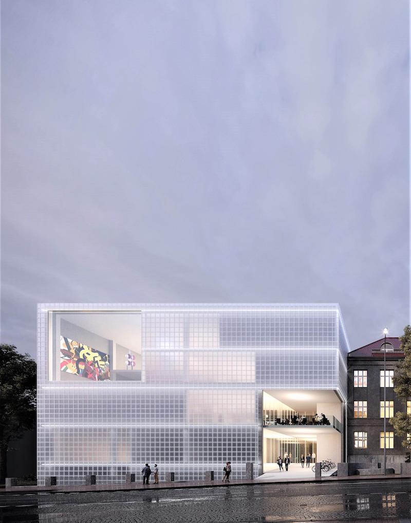 Jeden z projektov Petr Hájek Architekti: Návrh budovy Strednej priemyselnej školy keramickej a sklárskej v Karlových Varoch, 2020.