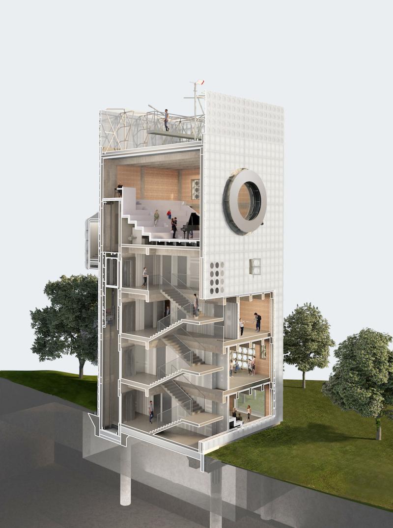 Hudobná veža, dostavba ZUŠ v Podbořanoch, 2020.