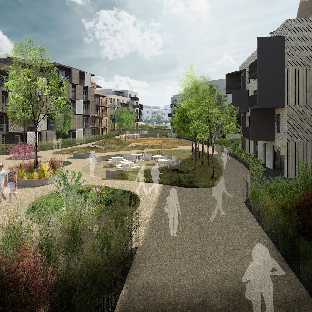 Hlavná myšlienka návrhu – vytvoriť zelenú rieku aokolo nej domy na bývanie novodobej komunity ľudí.