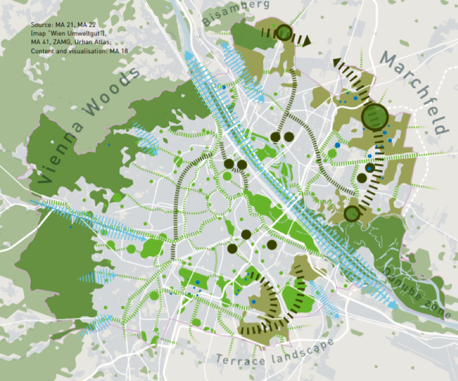 Plán vytvorenia zelených koridorov vo Viedni.