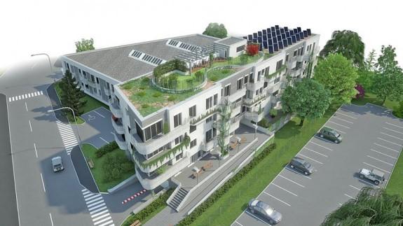 Obr. 2 Architektonická štúdia prvého pasívneho bytového domu na Slovensku [10]