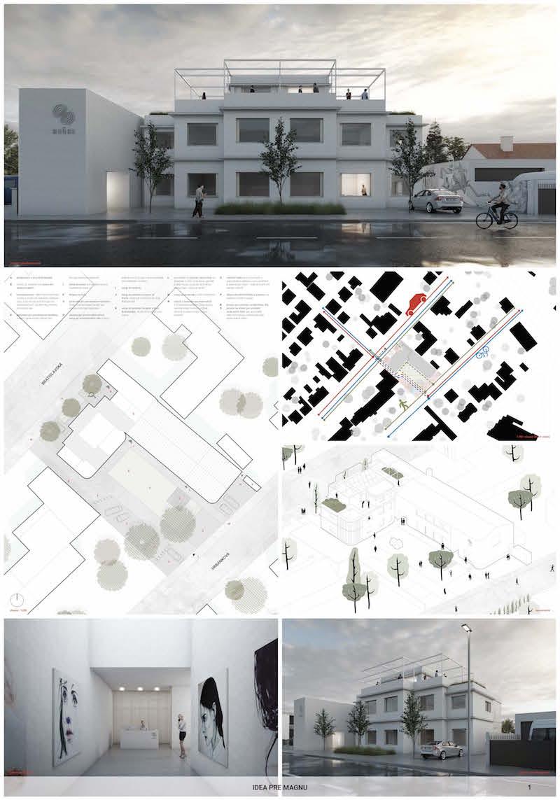 2. miesto. Návrh spomedzi ostatných účastníkov najlepšie pracoval s objektom vily, ktorá dostala jednotnú a nadčasovú podobu.