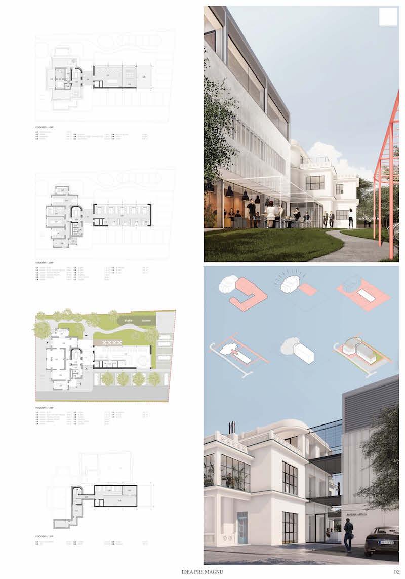 3. miesto. Návrh priniesol sklenené prepojenie medzi vilou a novým objektom.