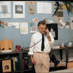 Aldo Rossi in studio a Milano anni ottanta