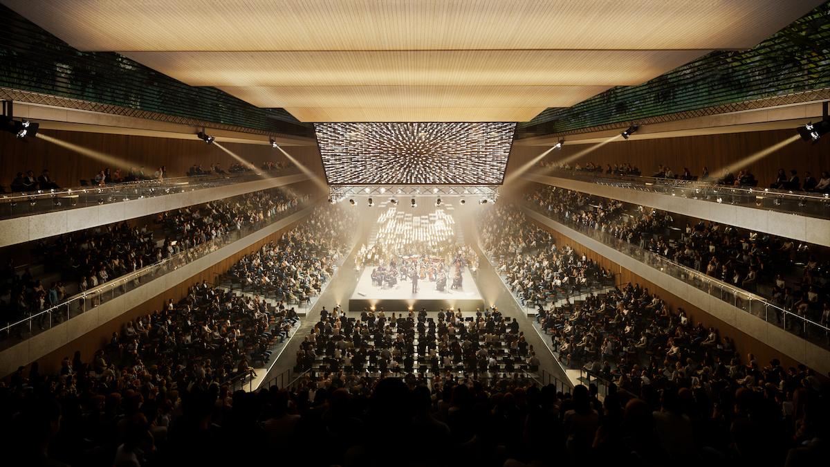 Vizualizácia kultúrneho a kongresového centra v Novom Lide − veľká sála.