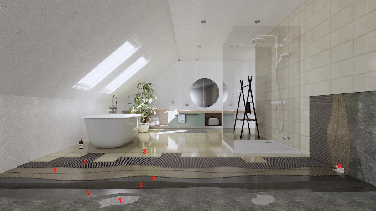 Detail podlahových vrstiev kúpeľne