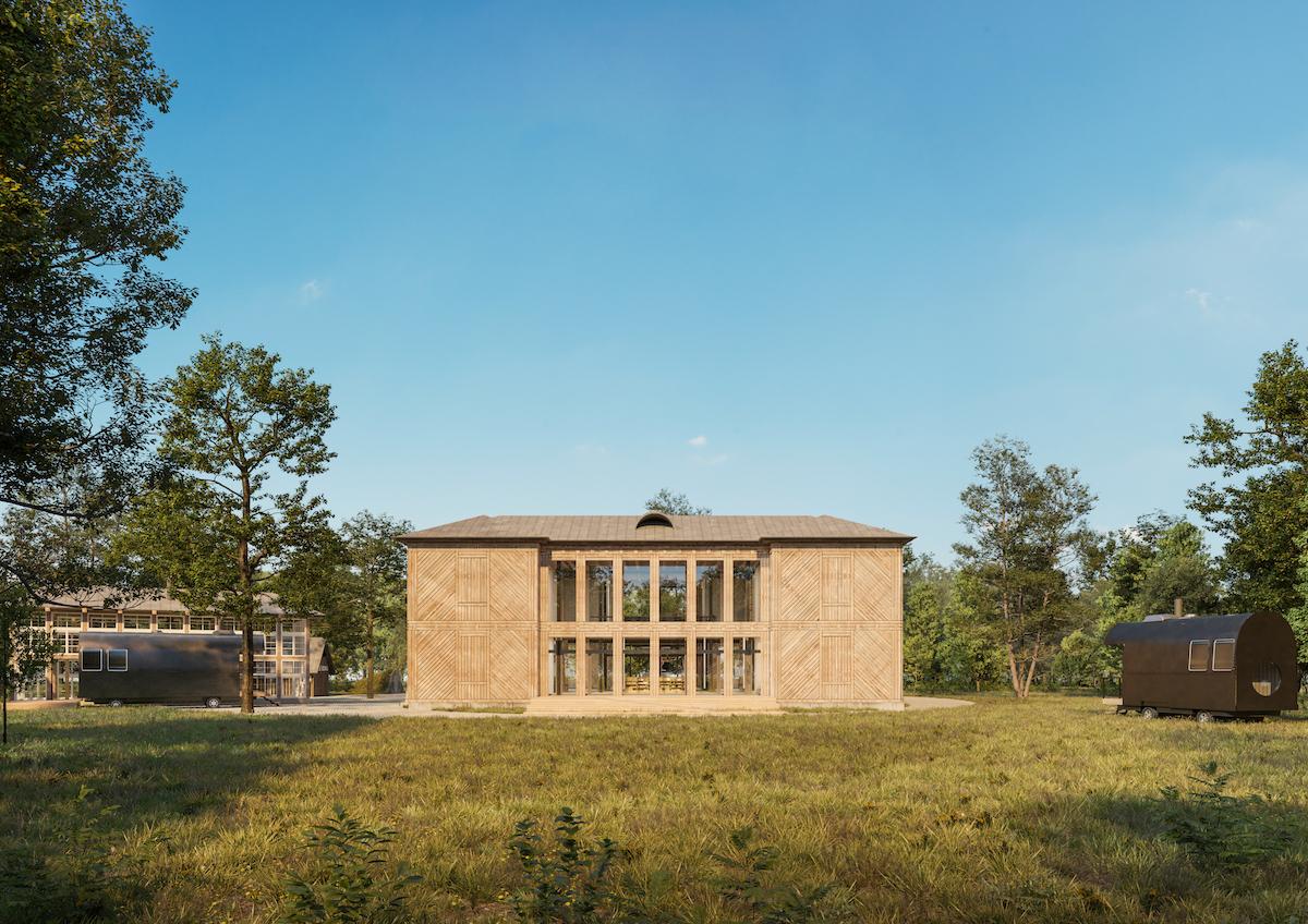 Fasády architektky riešili odhalením starého plášťa – objaví sa tak história budovy v plnej kráse textúry dreva.