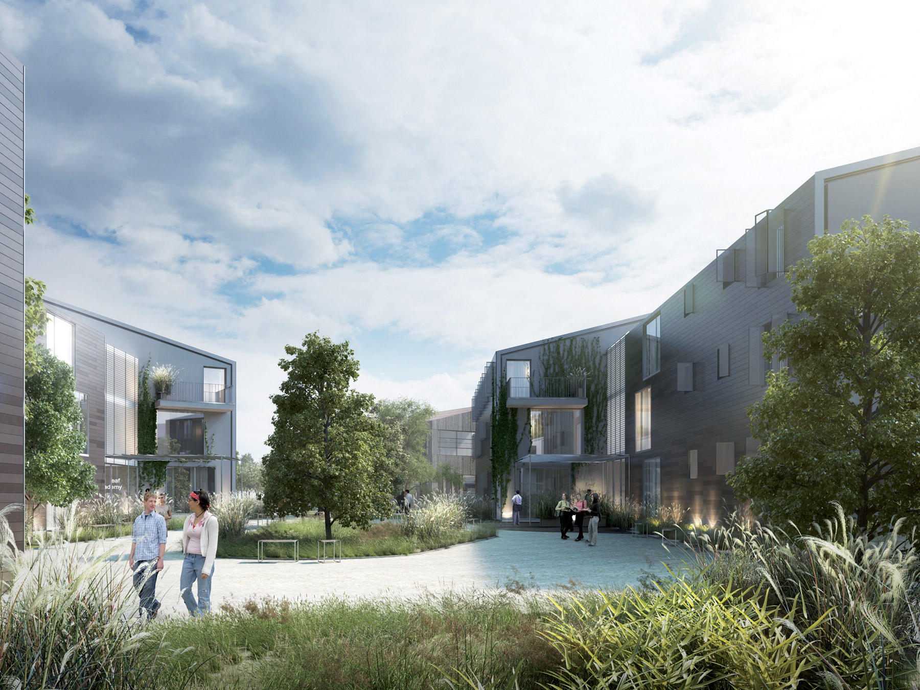 View of Accommodation Blocks  Leaf Academy    Bogle Architects