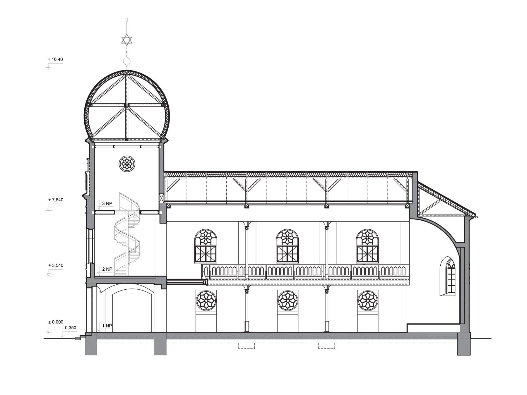 studia synagoga pozdlzny rez