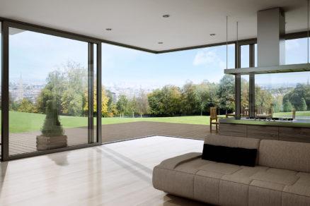 Obývačka bližšie k prírode: nové rohové zdvižno-posuvné dvere od firmy ALUPROF
